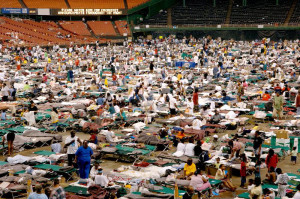 Photo of Katrina survivors in the Houston Astrodome