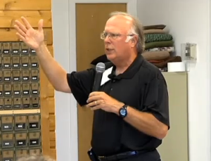 Todd Hunter at a recent town hall meeting on windstorm insurance