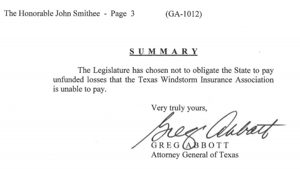 The bottom line of Attorney General Abbott's opinion